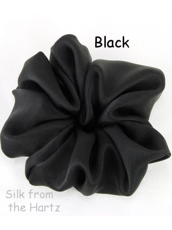 black satin silk scrunchie hair accessories damage free