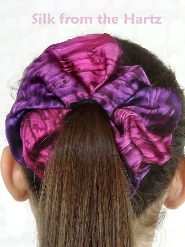 purple silk hair scrunchies gift for women