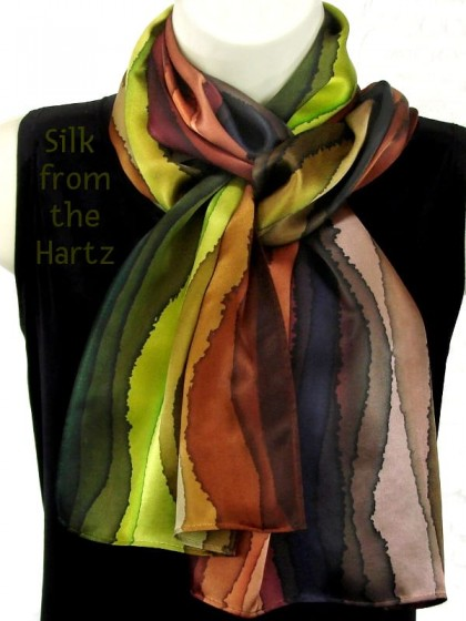 Brown stripe design ladies silk neck scarf hand painted in earth tones of brown, green, peach and denim. A beautiful anniversary gift for women.