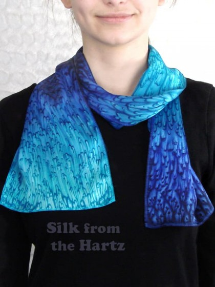 Hand dyed royal blue, navy and turquoise designer silk scarf, unique womens fashion