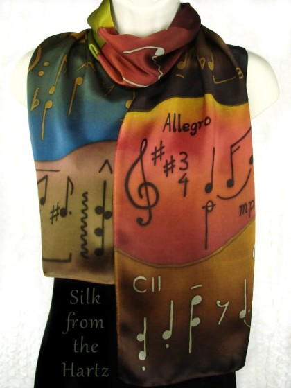 Unique hand painted silk scarves for women in earth tone browns and greens. Soft, elegant gifts for musicians, singers, music lovers and teachers.