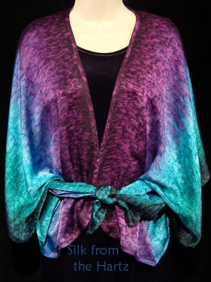 hand dyed silk satin peacock color pareo wrap blue, green and purple tied in front