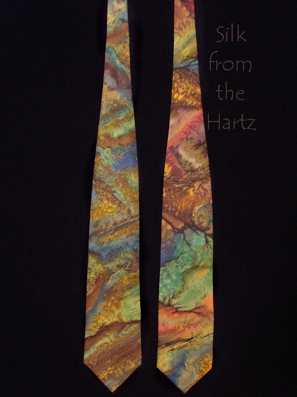 Hand dyed earth tone brown and green stone pattern natural geology silk mens neck ties.