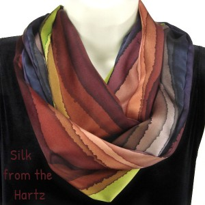 Brown stripe hand painted unique colorful silk scarf, creative artistic gifts for women.