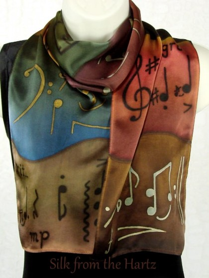 Musical theme silk scarves hand dyed in brown & green earth tones make beautiful gifts for women with music notes and symbols