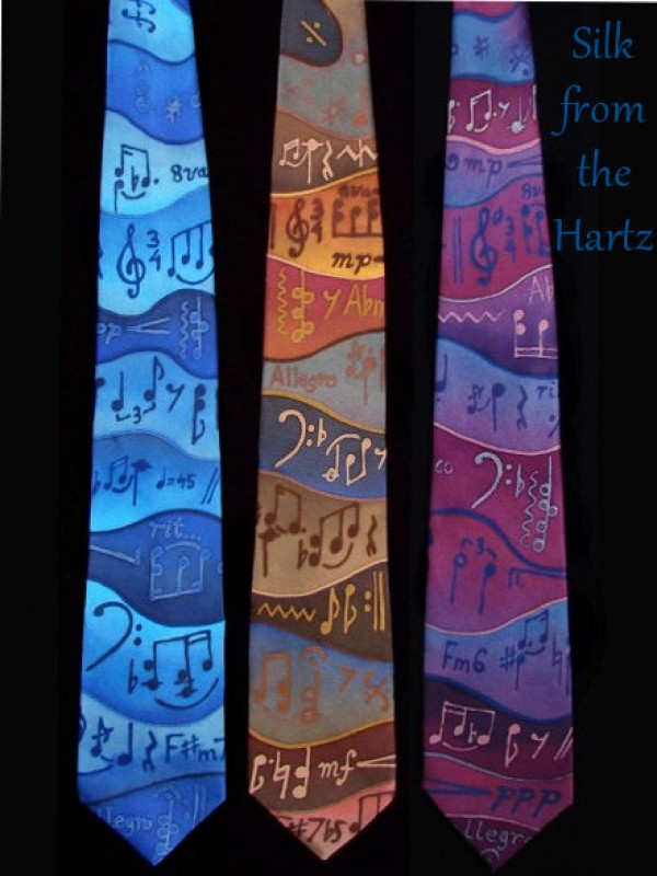 Creative, unique hand painted silk music neck tie in blue, earth tone browns, or purples.  Artistic musician or teacher gift.