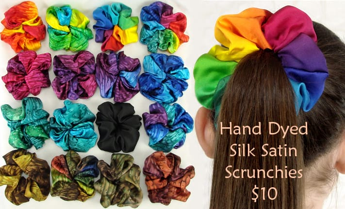 Silk hair scrunchies hand dyed satin in beautiful colors, fun gift for girls